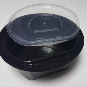 Boluri supa PET negru cu capac