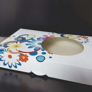 Cutie Prajituri Carton Tipar Floral Policromie cu fereastra