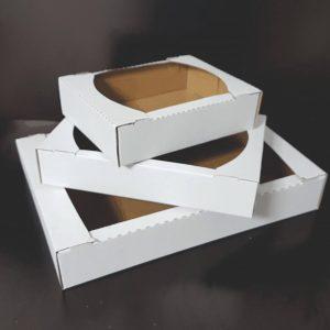 Cutii Fursecuri si prajituri din carton ondulat ALB plastifiat interior